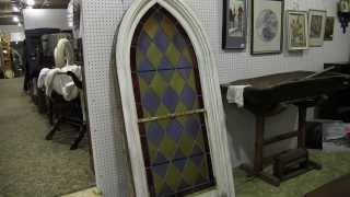 Stained Glass arch Church Window Antique Original FRAME