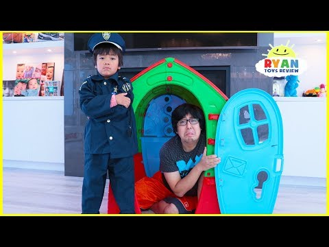 Ryan Pretend Play Police Helps Daddy and Mommy learn Good Habits