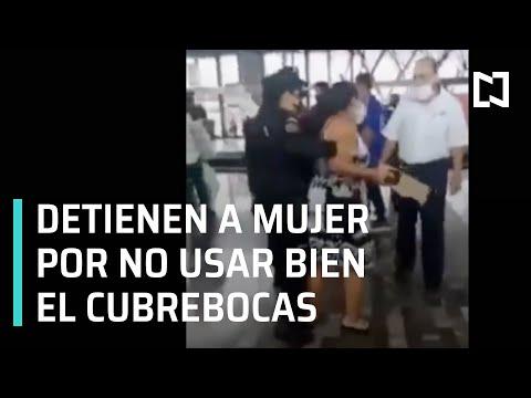 Detienen a mujer por no usar bien el cubrebocas en el Metro de Monterrey - Las Noticias