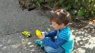Testing Out His RC Turbo Transformers Bumblebee Car