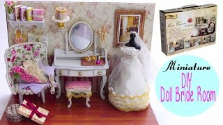 DIY Miniature Doll House Bride Dressing Room~wedding gown,vanity, tiny details~Love You Forever