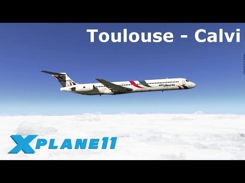 X Plane 11   Toulouse (LFBO) nach Calvi (LFKC)   Air Liberté MD-88