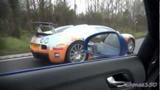 Bugatti Veyron CHASE! R8 V10 Spyder left behind...