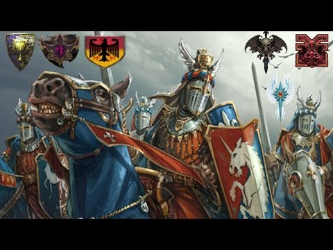 Bretonnia, Dark Elves, Dogs of War Crazy 3v3 - Call of Warhammer BotET Multiplayer Battle
