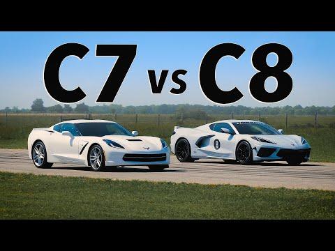 C8 Corvette vs C7 Corvette | Drag & Roll Race Comparison