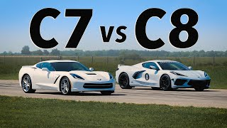 C8 Corvette vs C7 Corvette | Drag & Roll Race Comparison