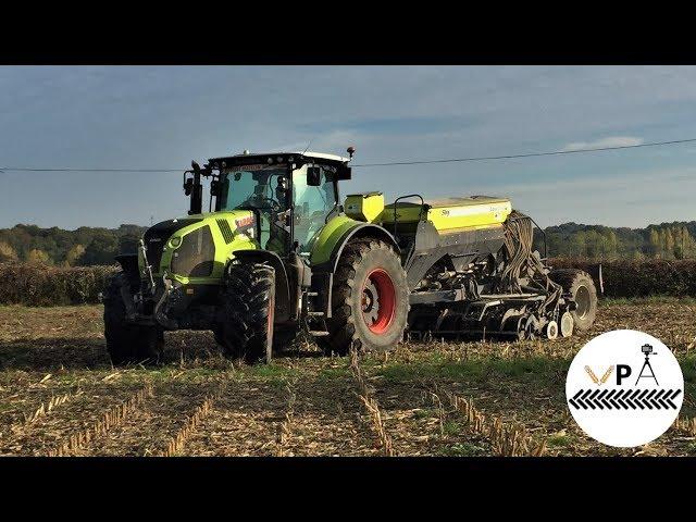 Semis direct de blé sur chaume de maïs 2018 | Sky Easy Drill HD + Claas Axion 830