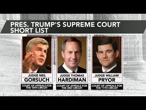 Trump narrows Supreme Court shortlist to three