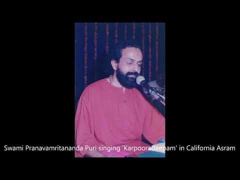 Swami Pranavamritananda Puri singing 'Karpooradeepam' in California Asram