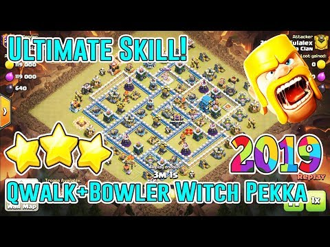 ULTIMATE SKILL!! QWALK+BOWLER WITCH PEKKA DESTROY TH12 3-STAR ( Clash of Clans )