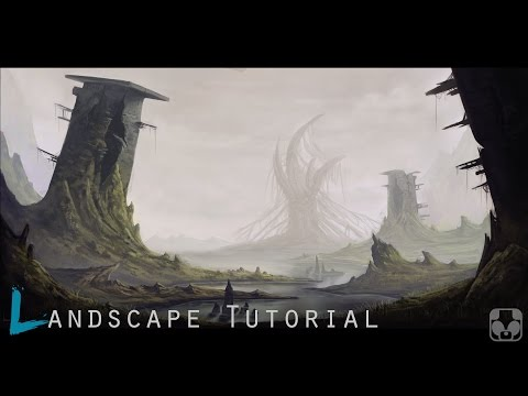 Digital landscape painting tutorial / Photoshop time lapse