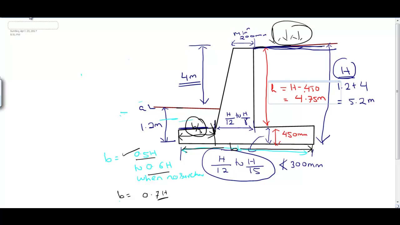 Lec 4 Problem on Design of RCC cantilever retaining wall