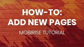 Mobirise Free Website Builder Tutorial | Add New Pages