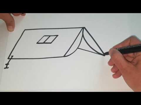 How To Draw A Tent كيفية رسم خيمة Youtube