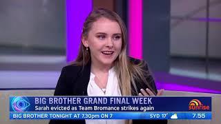 Big Brother Australia - Sarah on Sunrise - 21/7/20