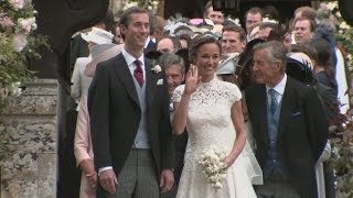 Pippa Middleton leaves church beaming as a married woman