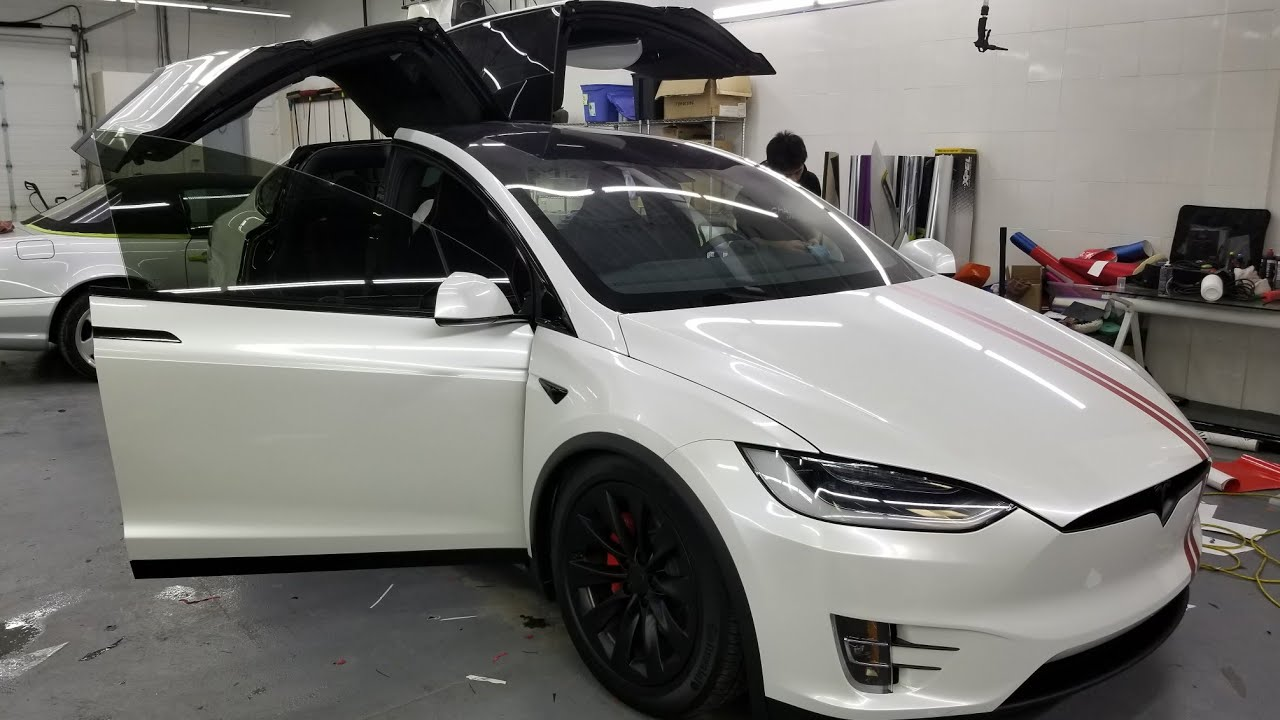 Gloss Pearl White Vinyl Wrapped Tesla Model X Chrome Delete Wrapped Brake Calipers Black Wheels