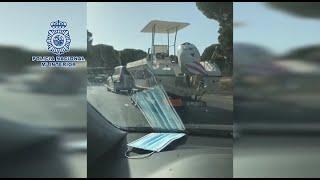 La Policía Nacional interviene en Huelva una lancha recreativa con 1.000 kilos de hachís