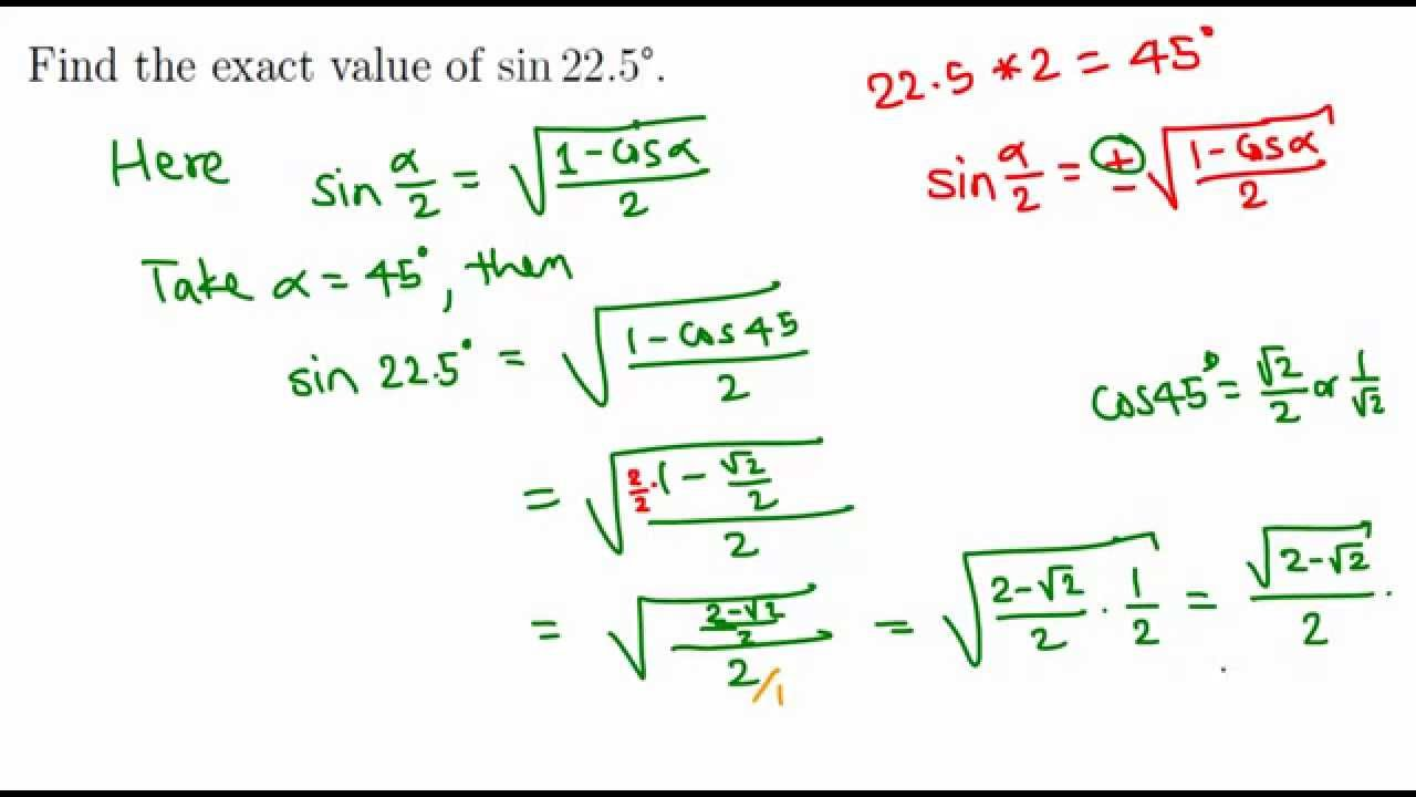 finding exact value of sin 225 degrees youtube