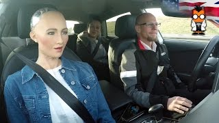Robot Meets Self Driving Car - Sophia by Hanson & Jack by Audi thumbnail