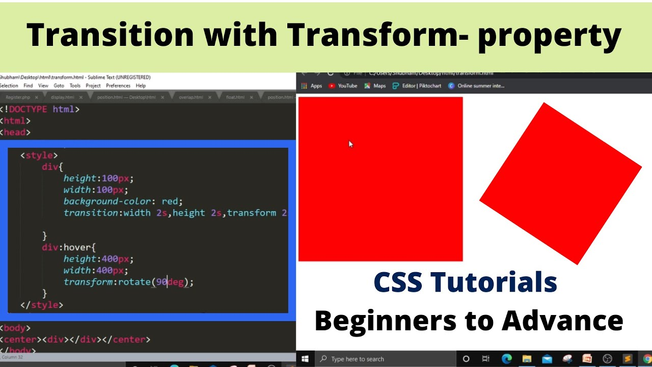 2.19 CSS Transitions and Transforms for Beginners in Hindi   CSS Website Designing tutorial