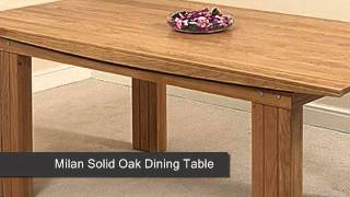 Milan Solid Oak Dining Table & 4 Burgundy Leather Chairs