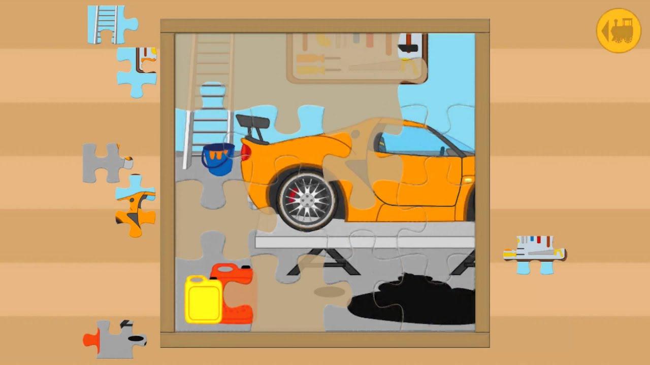 nios juego de puzzle garaje coches