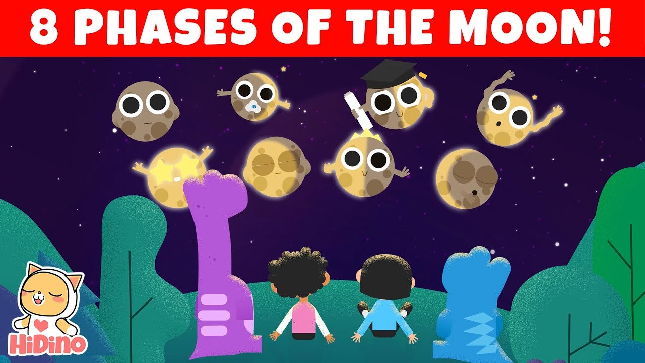 🌑🌒🌓🌔🌕🌖🌗🌘 The Phases Of The Moon | Learn The 8 Phases Of The Moon |  HiDino Kids Songs