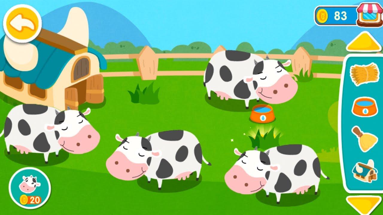 Trò Chơi Trẻ Em – Trò Chơi Bé Tập Chăm Sóc Thú Cưng – Bé Học Nuôi Bò Sữa