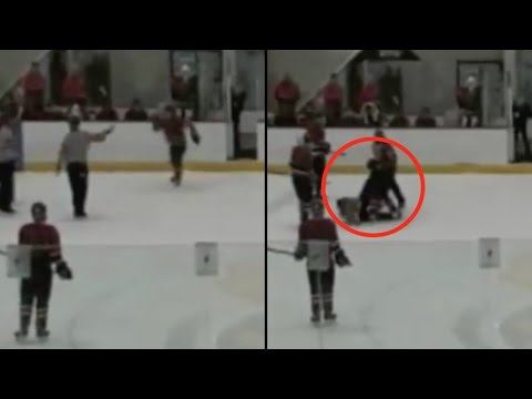 Hockey Player ATTACKS Ref with Cheap Shot After Leaving Penalty Box, Gets ARRESTED