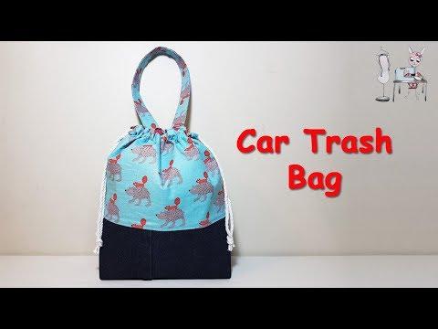 CAR TRASH BAG   Drawstring Bag   DIY BAG   TOTE BAG   BAG TUTORIAL   COUDRE UN SAC   DIY BOLSA