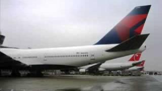 aviones northwes combiados a deltas en pintura northwest airlines 6305 b747 400 in delta colors