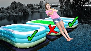 TRUST FALL!!  Don't Choose the Wrong Pool Challenge😰😬 || Taylor & Vanessa
