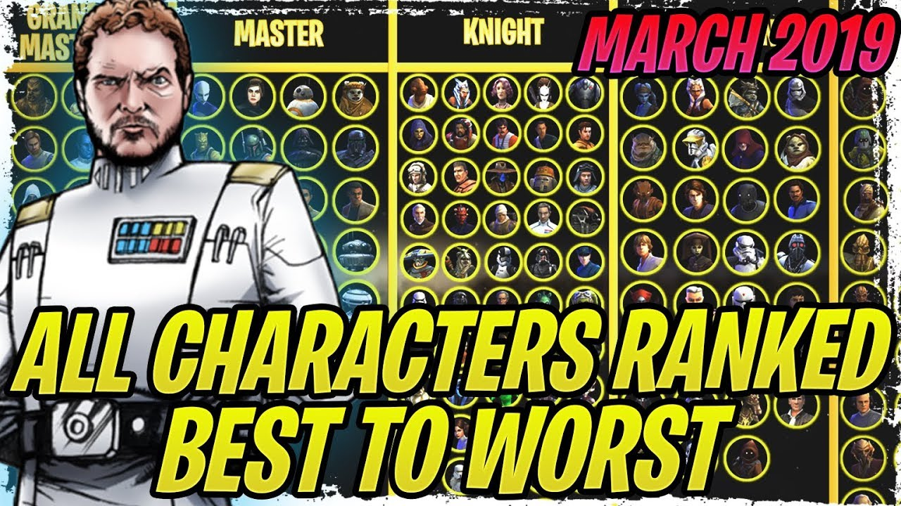 ALL CHARACTERS RANKED FROM BEST TO WORST - MARCH 2019 | Star Wars: Galaxy  of Heroes