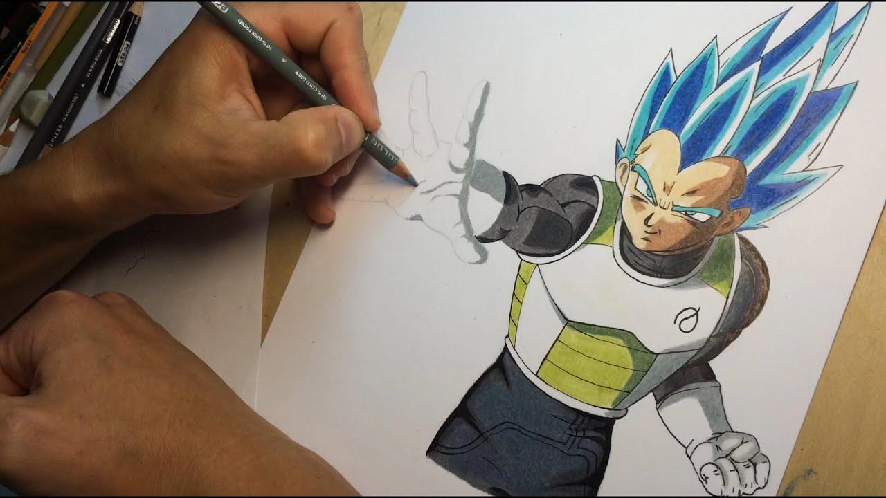Drawing Vegeta Super Saiyan God Blue  YouTube