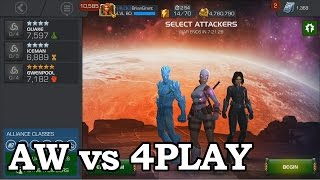 Alliance War vs 4PLAY with Quake, Iceman, Gwenpool | Marvel Contest of Champions