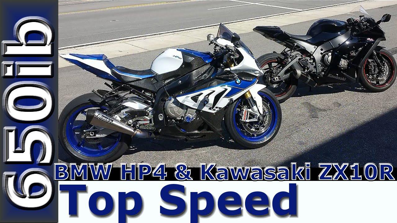 2013 bmw hp4 vs 2011 kawasaki zx10r: top speed races! - youtube