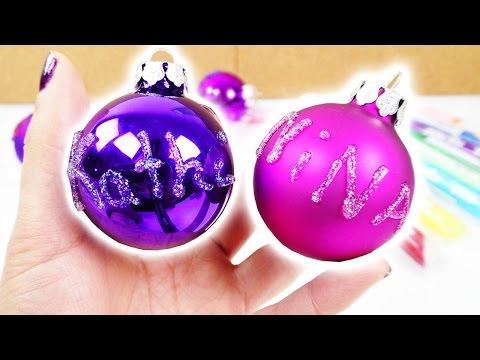 Weihnachtsbaum Schmuck selber machen | Coole Kugeln mit Glitzer Namen | Nina, Kaan, Kathi & Yoshi
