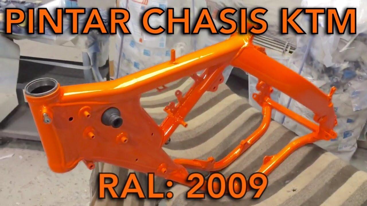 pintar un chasis o bastidor de una moto ktm / chassis frame or