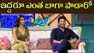 Allu arjun & pooja hegde singing || gudilo badilo song live performance - dj interviiew