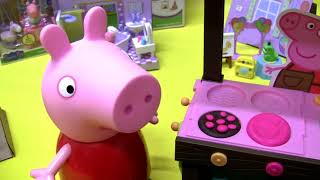 Peppa pig Big toy unboxing Play-doh Georges birthday surprise Peppas Mud Kitchen