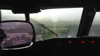 Boeing Business Jet (BBJ) Go-Around in Heavy Rain