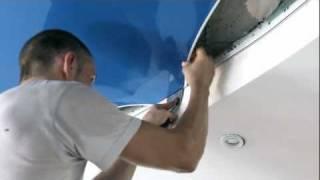 видео установка натяжного потолка
