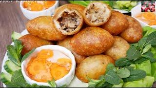 Bánh rán - Bánh rán Mặn nhân Thịt Heo, cách nhồi Bột, cách chiên sao cho Bánh giòn by Vanh Khuyen