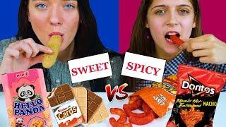 ASMR SWEET VS SPICY FOOD CHALLENGE  EATING SOUND LILIBU