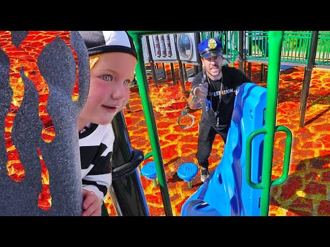 COPS vs ROBBERS - THE FLOOR IS LAVA CHALLENGE and PRISON ESCAPE at the Park! (new game with dad)