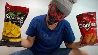Человек паук пробует чипсы!Еда из супермаркета!Едим на камеру !Pringles chips!Doritos вкус в России!