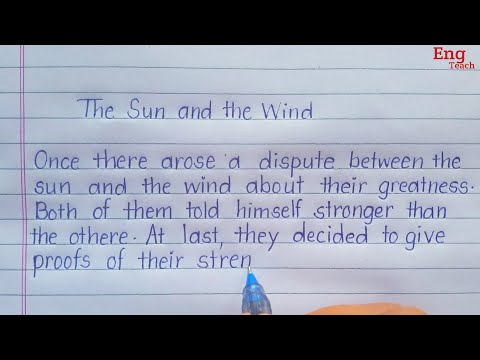 Story: The Sun and the wind | English handwriting| English story|story writing |writing |Eng Teach