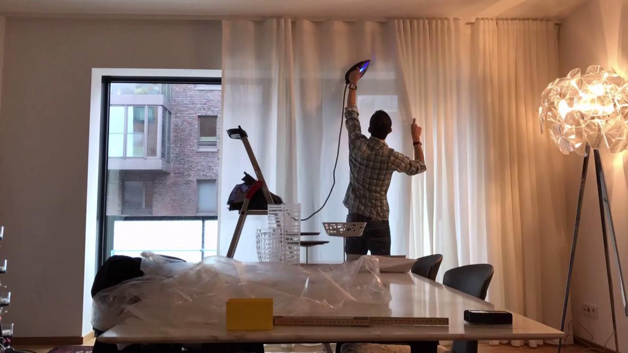 Raumausstatter bei der arbeit  Meister bei der Arbeit - Gardinen Montage - YouTube