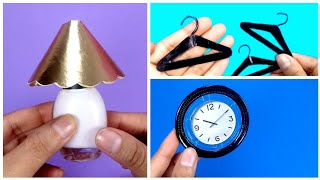3 DIY How to make Miniature Crafts   mini Hangers, wall Clock and Lamp